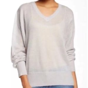 Wildfox White Label Sweater Gray V-Neck Slouchy